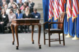086 The chair and table where President Barack Obama is to sign the $787 billion economic stimulus...