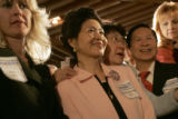 Molly Ford, Maria Yin, Wendy Chao, Johnson Lin and Nepeta Godec wait with anticipation for...