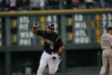 Colorado Rockies catcher Yorvit Torrealba pumps his fist after hitting a homerun in the second...