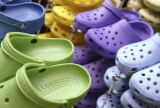 Crocs brand shoes on display at Dardano's Shoes in Denver, Colorado. The American footware company...