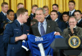 Air Force coach Fisher DeBerry met the academy's new superintendent  Lt. Gen. John Regni for the...