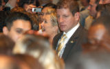54380 Sen. Hillary Clinton is surrounded by members of the Hispanic Caucus after he speech to the...