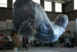 The story of the big Blue Bear sculpture headed for the Convention Center. It has been created and...