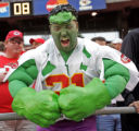 (JOE LEDFORD/The Kansas City Star)  Dressed for the day, Kevin Kendrick of Olathe, was pleased...