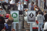 Passengers at DIA try  the new pilot security line at the north security checkpoint at 7 am ...
