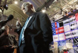 CNN Senior Political Analyst Bill Schneider answers reporters questions inside the debate hall...