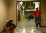 Michael Williams (cq), 16, of Strausburg, mentally prepares himself for his match in the hallway...