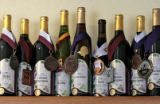 Some of the award winning wines made by the Creekside Cellars on display, Thursday morning, March...