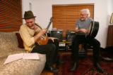 Mick Bolger, right, the leader of the Irish Folk band Colcannon, rehearses with band member Brian...
