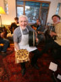 Mick Bolger, the leader of the Irish folk band Colcannon, holds Pissaladiere, with carmelized...