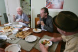Food Diary, with Mick Bolger, far left, the leader of the Irish Folk band Colcannon, dines at his...