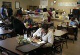 Austra Runnels (cq) enjoys lunch at the This Is It Soul Food restaurant near downtown Houston,...