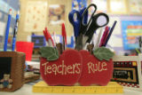 DM0656   A pen holder on Ms. Deanna Blunt's desk in her second grade class at Valley View...
