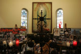 An altar is dedicated to the troops fighting the wars abroad inside the Corpus Christi Cathedral,...