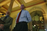 In the rotunda bi-partisan lawmakers unveil 2008 elections bill and presenting were Sen. Majority...