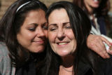 L to R:  Laura Hagan (cq) hugs her mother, Sherry Hagan (cq) outside of  Arvada Municipal Court ...