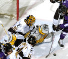 COCOL106 - Colorado College goalie Richard Bachman (30) defends the goal against Minnesota State...