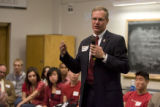 "DM0356   Chancellor G.P. ""Bud"" Peterson addresses a lecture hall full of students during..."