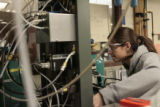 Victoria Aston (cq), a grad student at CU, works on making hydrogen from Biomas using solar...