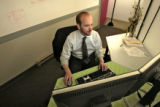 Mike Fatica (cq), Fatica Consulting LLC, does some company business, at Hive Collective, Thursday...