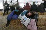 Lynn A. Horton (cq) takes a nap at a tent on Copper Mountain after competing on the 1k Cross...