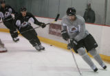DM0407   Peter Forsberg participates in his first full-team practice since his return to the...