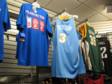 The adult-sized Denver Nuggets Allen Iverson jerseys at Modells Sporting Goods in downtown Philly...