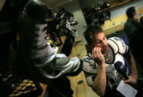 DM0630   Peter Forsberg talks to the media after his first full-team practice since his return to...