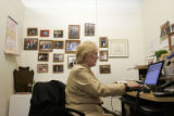 Pat Waak, chair of the Colorado Democratic Party, searches for results from Rhode Island on her...