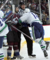 Peter Forsberg checks #14 Alex Burrows   against Vancouver Canucks, in the 2nd March 4, 2008 at...