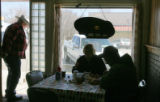 This was the lunch time rush at the Bits and Spurs Cafe on Main Street in Ordway, Co , the county...