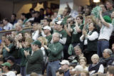 Michigan State fans rise up from their seats during the final minutes of the first game of the...