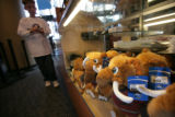Stuffed Mammoths stand waiting for just the right fan to purchase in the retail shop at the Pepis...