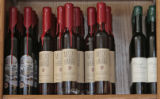 Some of the wines made by the Creekside Cellars on display, Thursday morning, March 6, 2008,...