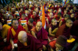 Tibetan monks attend talks between the Dalai Lama and Nancy Pelosi, speaker of the US House of...