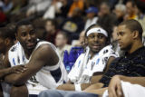 (from left) Pittsburgh's DeJuan Blair (cq) and Levance Fields (cq) enjoy the last minutes of a...