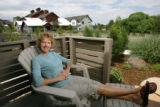 Sue Pruitt sits in her lounge chair in the patio outside her and her husband Andy's bedroom.  Sue...
