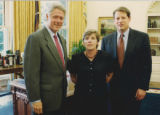Cutline: Joan Fitz-Gerald with Bill Clinton and Al Gore in the Oval Office in 1996. She is running...