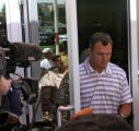John Lynch heads to talk to the media about him leaving the Broncos, Thursday afternoon, July 31,...