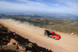 Leonard Vahsholtz  speeds up into the final curve before the summit during the Pikes Peak...