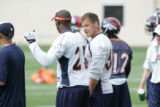 #54, Spencer Larsen (cq) talks with #21 Hamza Abdullah (cq) during special teams practice at the...