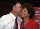 Doug Lamborn celebrated his victory Tuesday, August 8, 2006 with a kiss to his wife, Jeanie. ...