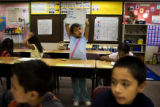 Xenia Guardado, 10, (cq) a fourth grader at Village East Community Elementary School at 1433 South...