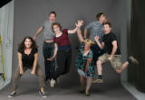 Members of the Buntport Theater.  Left to right:  Hannah Duggan, Brian Colonna, Erin Rollman, ...