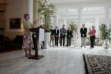 First Lady Jeannie Ritter, left, launches a new Governor's Residence Preservation Fund, Thursday...