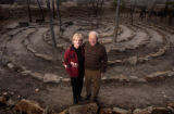 (Castle Rock, Colo., December 15, 2004) Portrait of Jack and Sue Pfeiffer in front of a rock...