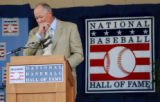 "Rich ""Goose"" Gossage becomes emotional Sunday, July 28, 2008, while recalling a fellow..."