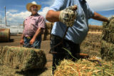 MJM387 Rancher, Ray Hall (cq), left, helps Howard Henschel (cq), right, load hay bales at...