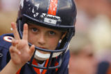 DM1550  A young fan celebrates after the Denver Broncos defeated the New Orleans Saints 34-32 at...