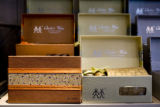 Boxes with matching silk ties and cuff links for $48 are a very popular groom's gift sold at...